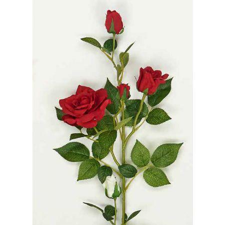 Διακοσμητικό κλαδί με κόκκινα τριαντάφυλλα 78cm