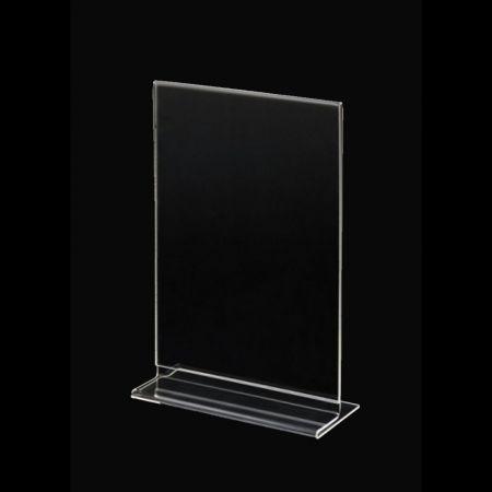 Σταντ εντύπων - τιμών Plexiglass - διπλής όψης - Κάθετο B6 - 12x18cm
