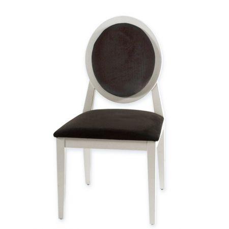 Καρέκλα Louis Λευκή Λακα Μαύρο Βελούδο