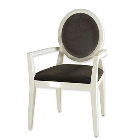 Πολυθρόνα Louis Λευκή Λακα Μαύρο Βελούδο