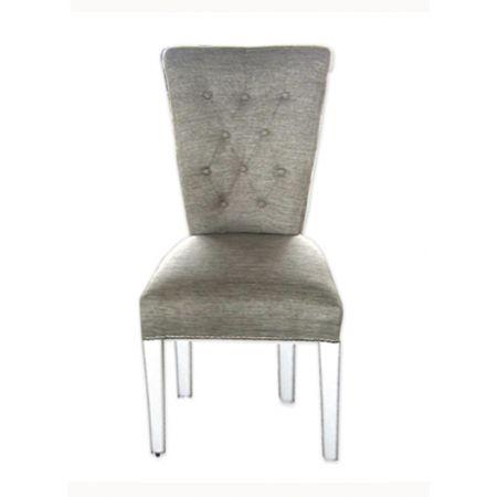 Καρέκλα Μπαροκ Καπιτονέ σε Ύφασμα Γκρι/Μπεζ  & καμπαράδες