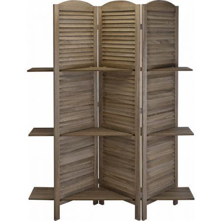 Ξύλινο παραβάν με γρίλλιες & 3 ραφια, καφέ, 130x180cm