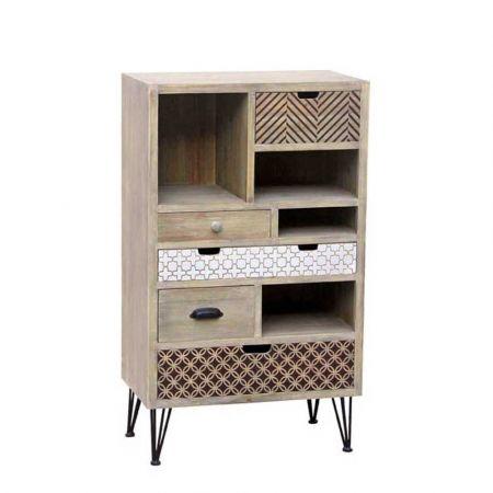 Ξύλινη συρταριέρα με μεταλλικά πόδια 62x36x109cm