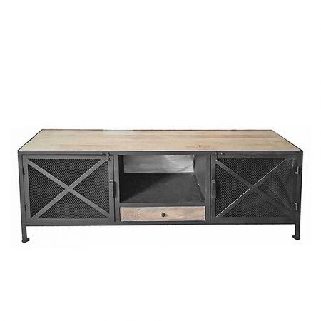 Κονσόλα - Έπιπλο τηλεόρασης Φυσικό ξύλο - Μαύρο 150x40x60cm