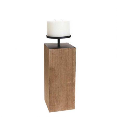 Ξύλινο κηροπήγιο Φυσικό με Λευκό κερί 17x17x40cm