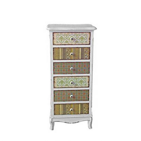 Ξύλινη Vintage συρταριέρα με πολύχρωμα συρτάρια 52x39x120cm