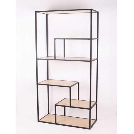 Βιβλιοθήκη - Ραφιέρα μεταλλική με ξύλινα ράφια 76x33x177cm