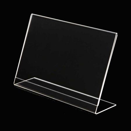 Σταντ εντύπων - τιμών Plexiglass - ενός φύλλου - Οριζόντιο - κεκλιμένο 8x6cm