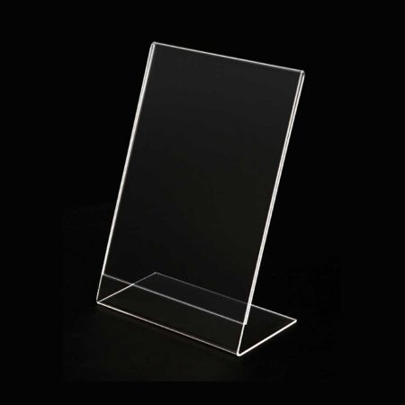 Σταντ εντύπων - τιμών Plexiglass - ενός φύλλου - Κάθετο - κεκλιμένο 7x10cm