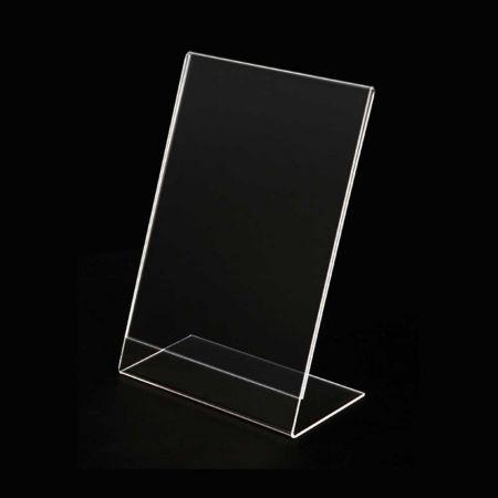 Σταντ εντύπων - τιμών Plexiglass - ενός φύλλου - Κάθετο - κεκλιμένο B7 - 9x13cm