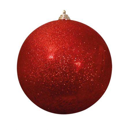 XL Διακοσμητική χριστουγεννιάτικη μπάλα Glitter Κόκκινη 30cm