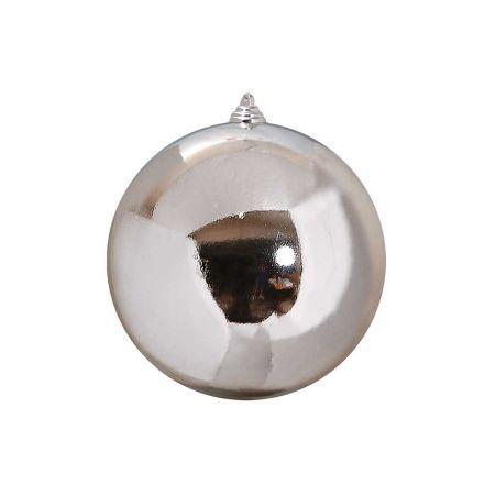 XL Διακοσμητική χριστουγεννιάτικη μπάλα Ασημί γυαλιστερή 20cm