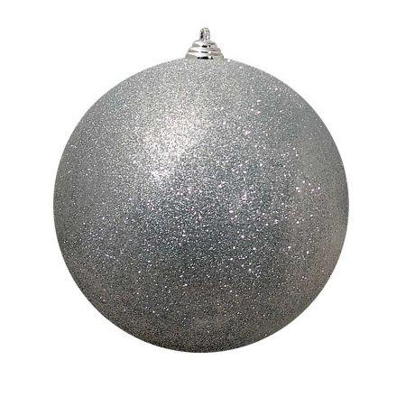 XL Διακοσμητική χριστουγεννιάτικη μπάλα Glitter Ασημί 30cm