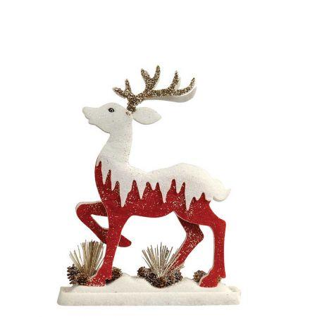 Διακοσμητικός τάρανδος με glitter Κόκκινος - Λευκός 38x8x47cm