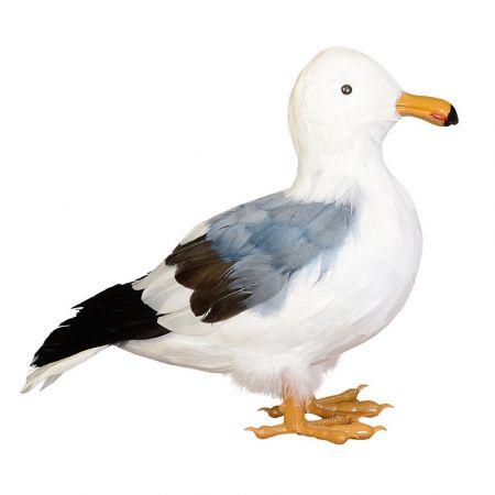 Διακοσμητικός γλάρος όρθιοςκατασκευασμένος από πλαστικό και φτερά.