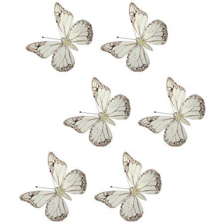 Σετ 6τχ διακοσμητικές πεταλούδες με μαγνητάκι και κλιπ 8cm