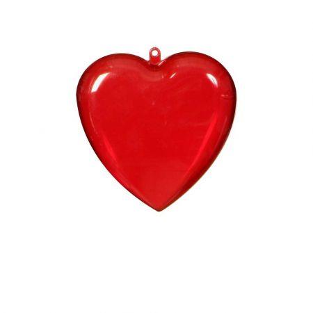 Καρδιά Βαλεντίνου ακρυλική Κόκκινη - Διάφανη 14cm