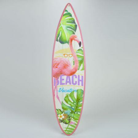 Διακοσμητική σανίδα του Surf ξύλινη με Φλαμίνγκο 20x78cm