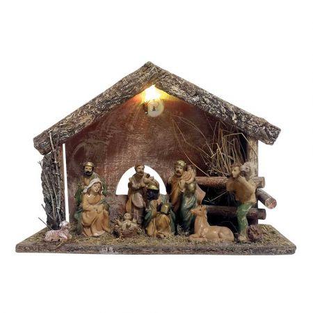 Χριστουγεννιάτικη Φάτνη ξύλινη με Φως μπαταρίας 30x14x21cm