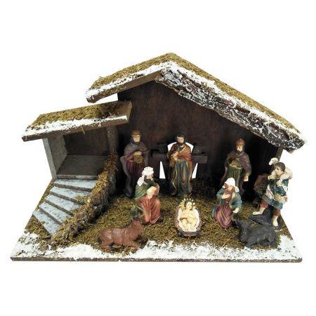 Χριστουγεννιάτικη Φάτνη χιονισμένη ξύλινη 40x18x23cm