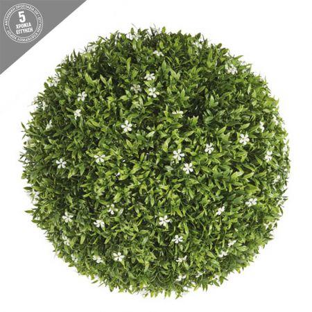 Διακοσμητική τεχνητή μπάλα - Λευκά ανθάκια 48cm