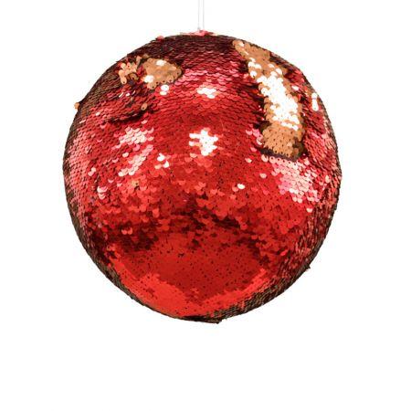 Κρεμαστή χριστουγεννιάτικη μπάλα με παγιέτες Χρυσό - Κόκκινο 20cm