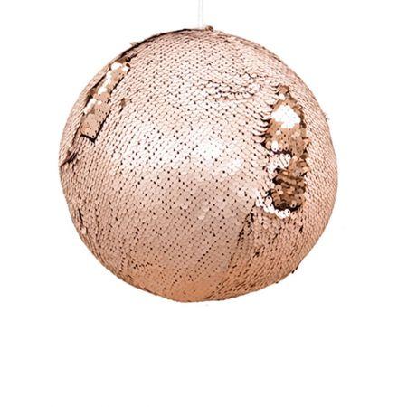 Κρεμαστή χριστουγεννιάτικη μπάλα με παγιέτες Χρυσό - Σαμπανί 20cm