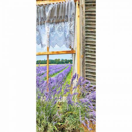 Διακοσμητική αφίσα με παράθυρο και λεβάντες 90x200cm