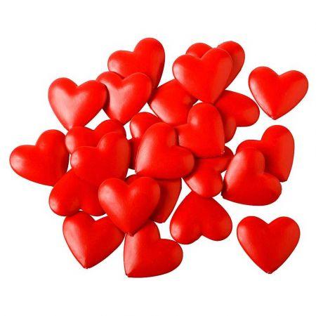 Σετ 24τχ μίνι πλαστικές καρδιές Κόκκινες 6cm