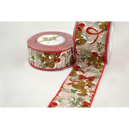 Χριστουγεννιάτικη κορδέλα MERRY BELLS 2.3cm / 4.3cm / 6.7cmx9m