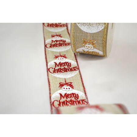 Χριστουγεννιάτικη κορδέλα Merry Christmas-Μπάλα δέντρου 5.5cmx9m