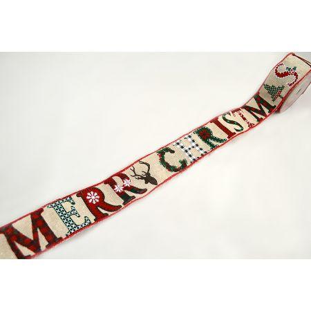 Χριστουγεννιάτικη κορδέλα MERRY CHRISTMAS 5.5cmx9m