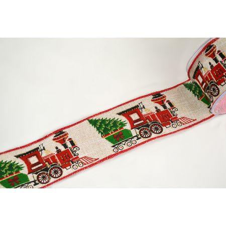 Χριστουγεννιάτικη κορδέλα CHRISTMAS TRAIN 5cm / 6.7cmx9m