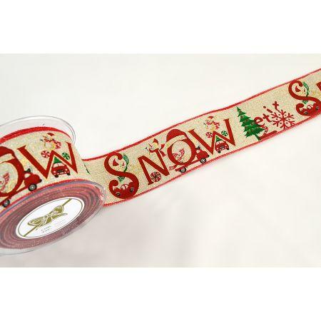 Χριστουγεννιάτικη κορδέλα SNOW VEHICLES 6cmx9m