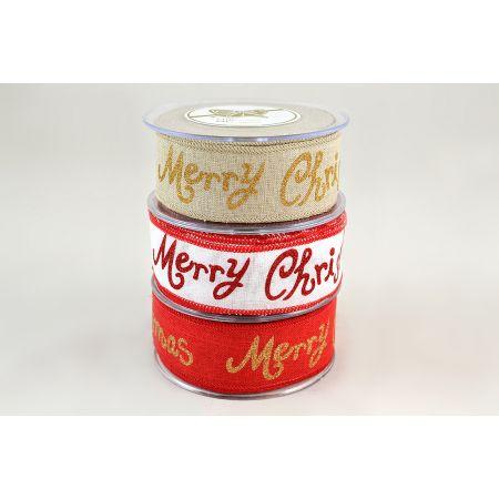 Χριστουγεννιάτικη κορδέλα SHINY MERRY CHRISTMAS Χρυσή 4.3cmx9m