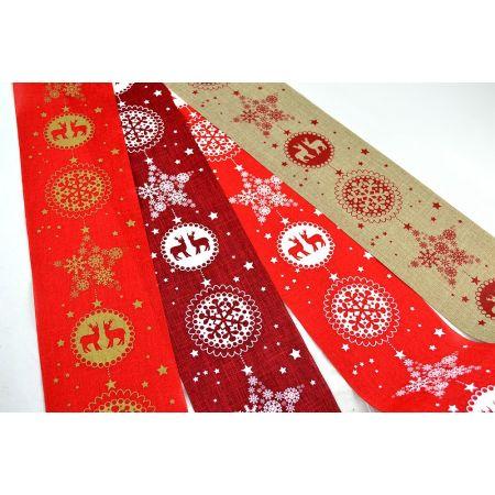 Χριστουγεννιάτικο ύφασμα με Τάρανδους και Νιφάδες 15cmx9m