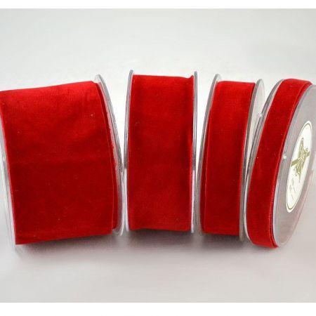 Χριστουγεννιάτικη κορδέλα ΒΕΛΟΥΔΟ ΔΙΠΛΗΣ ΟΨΗΣ Κόκκινη 1.3cm / 2.3cm / 4.3cm / 6.7cmx9m