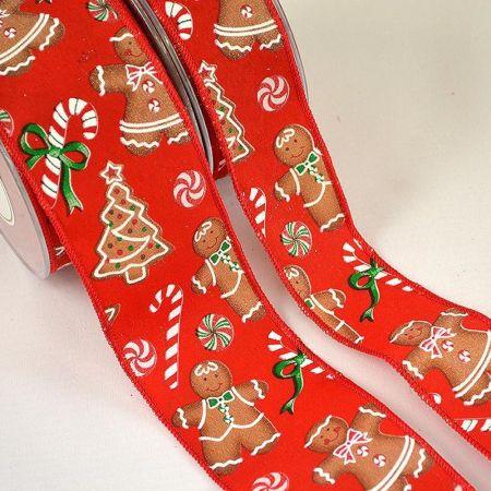 Χριστουγεννιάτικη κορδέλα με σχέδιο Παιδάκια Μπισκότο 2.3cm / 4.3cm / 6.7cmx9m