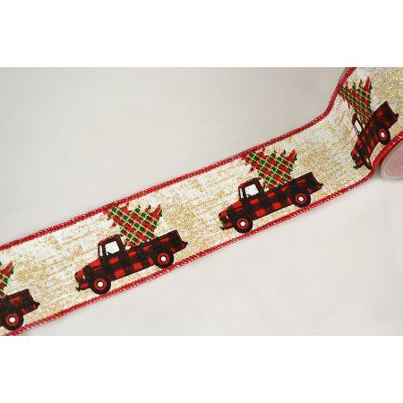Χριστουγεννιάτικη κορδέλα με Φορτηγάκι Καρρώ 5.5cmx9m