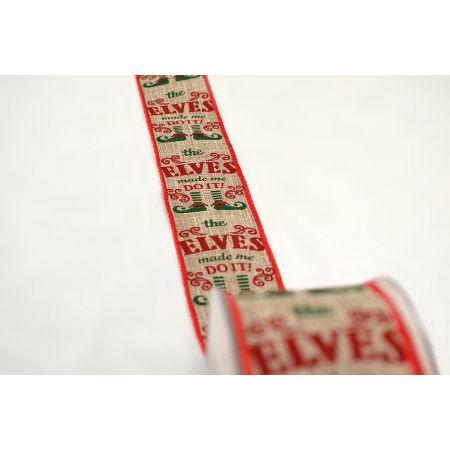 Χριστουγεννιάτικη κορδέλα ELVES DO IT 5.5cmx9m
