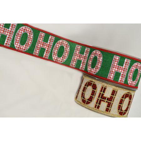 Χριστουγεννιάτικη κορδέλα HO HO Καρρώ 5.5cmx9m