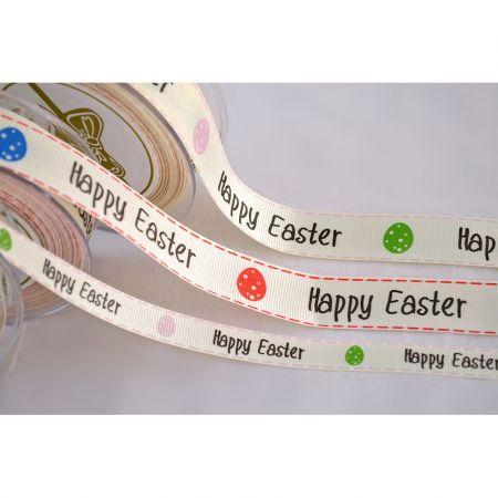 Διακοσμητική κορδέλα HAPPY EASTER 1.3cmx23m - 2.3cmx9m