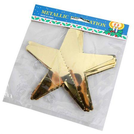 Διακοσμητική γιρλάντα με 12 αστέρια Χρυσά 15x200cm