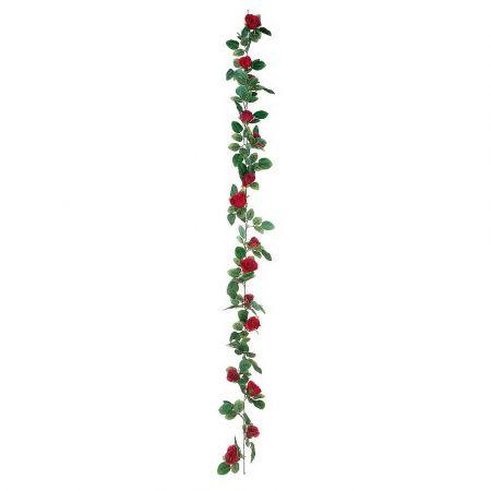 Διακοσμητική γιρλάντα με Κόκκινα τριαντάφυλλα 180cm