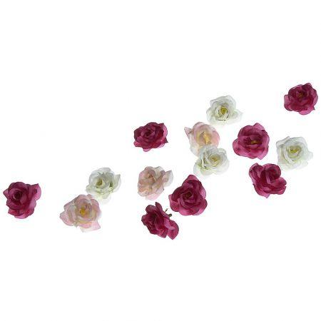 Σετ 50τχ διακοσμητικά άνθη από τριαντάφυλλα Ροζ - Φούξια - Λευκά 4cm