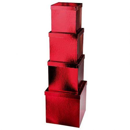 Σετ 4τχ Διακοσμητικά κουτιά δώρου Κόκκινα 18-27cm