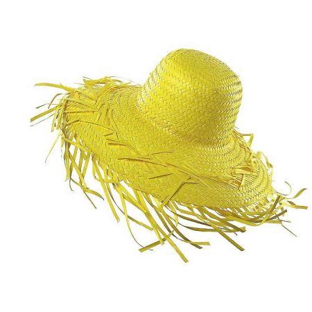 Διακοσμητικό ψάθινο καπέλο Κίτρινο 40cm