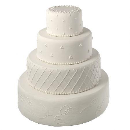 Διακοσμητική τούρτα γάμου Λευκή 52x48cm
