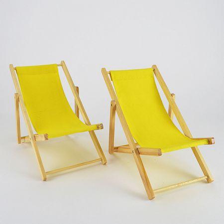 W482.783.11 Σετ 2τχ Διακοσμητικές καρέκλες παραλίας mini για βιτρίνα Κίτρινο 22x14x20cm