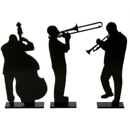 Σετ 3τχ ξύλινες σιλουέτες -Μουσικοί Τζαζ- Μαύρες 50cm
